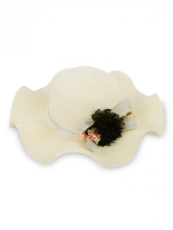 affordable Flower Decor Wavy Edge Straw Hat - WHITE