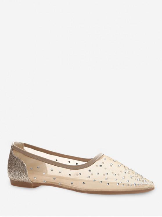 ladies Shiny Sheer Mesh Flat Shoes - GOLD EU 35