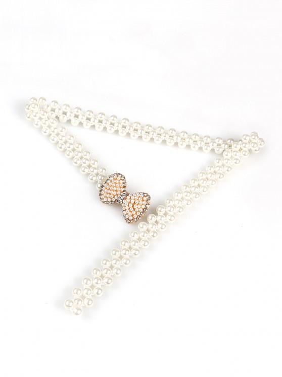 best Faux Pearl Bowknot Design Waist Belt - WHITE