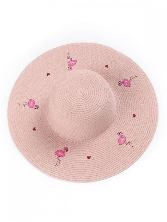 unique Flamingo Wide Brim Straw Hat - PINK