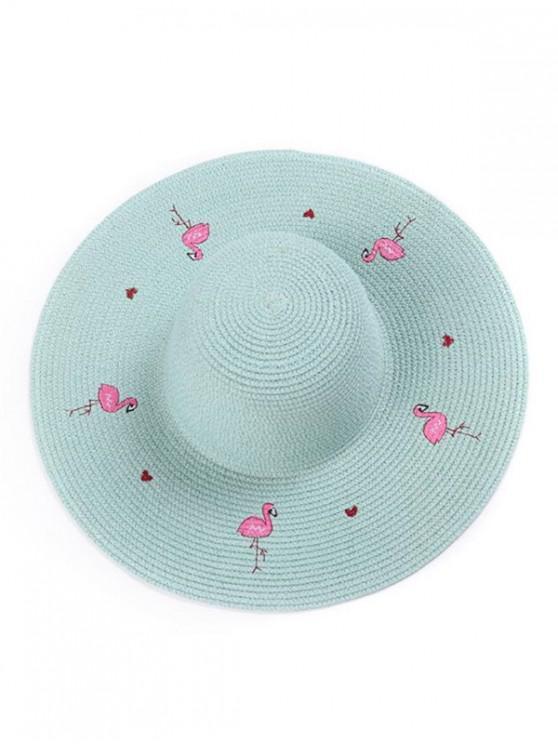 womens Flamingo Wide Brim Straw Hat - AZURE