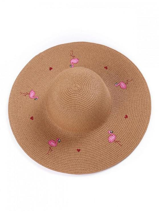women Flamingo Wide Brim Straw Hat - COFFEE