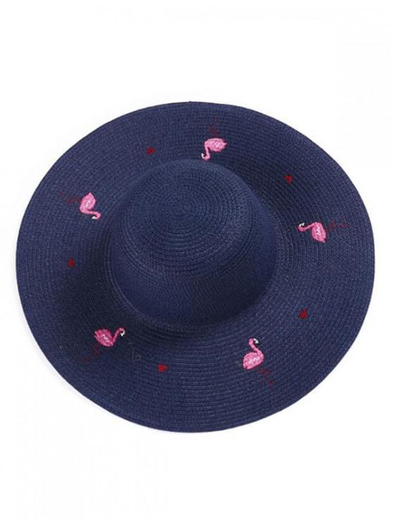 women's Flamingo Wide Brim Straw Hat - CADETBLUE