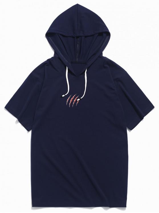 Scratch Print - Kapuzen-T-Shirt - Kadettenblau XL