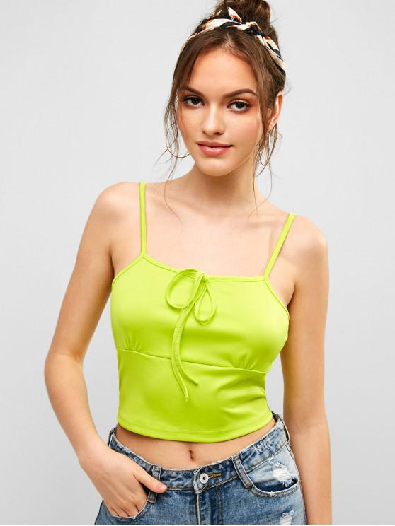 women's Knotted Crop Cami Top - TEA GREEN M