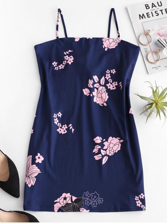 hot Tied Back Floral Cami Mini Dress - DARK SLATE BLUE M