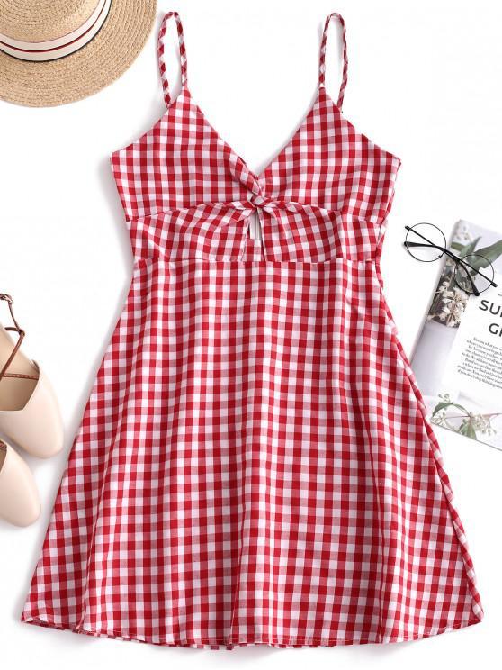 lady Twist Plaid Cami Mini Dress - RED L