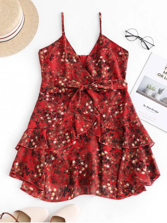 online Ruffles Layered Belted Floral Mini Dress - RED M