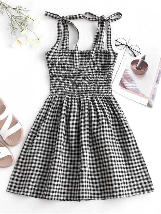 fancy Smocked Plaid Tied Straps Mini Dress - MULTI M