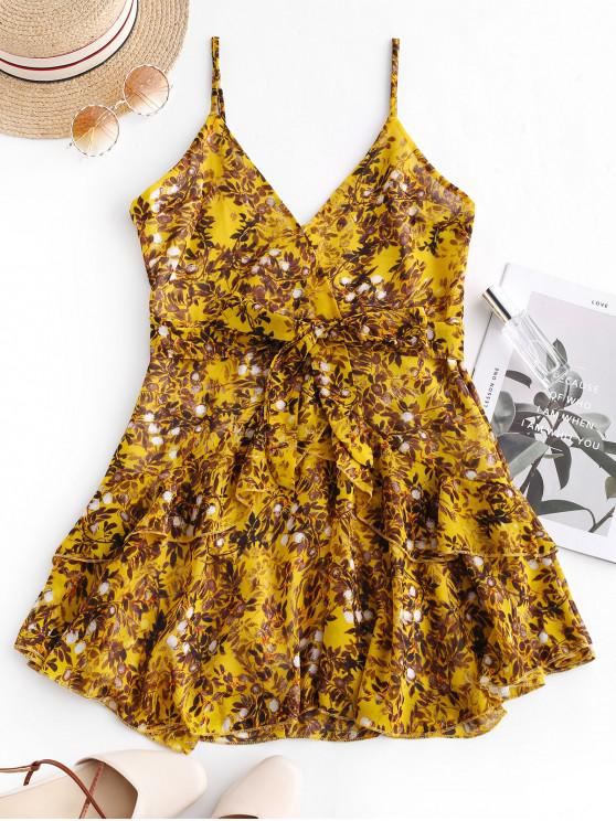 lady Ruffles Layered Belted Floral Mini Dress - YELLOW L