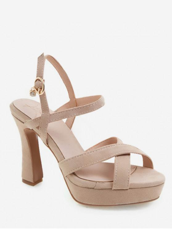 best Cross Strap Platform High Heel Pumps - BEIGE EU 34