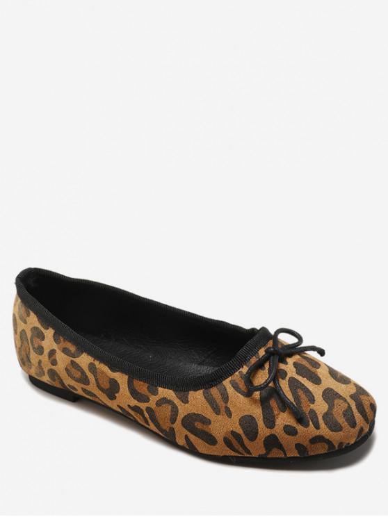 buy Leopard Print Bowknot Flat Shoes - YELLOW EU 38