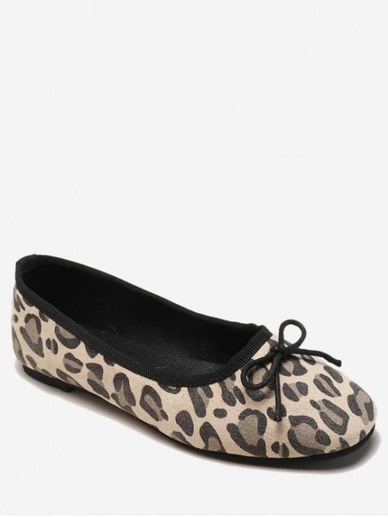 affordable Leopard Print Bowknot Flat Shoes - BEIGE EU 36