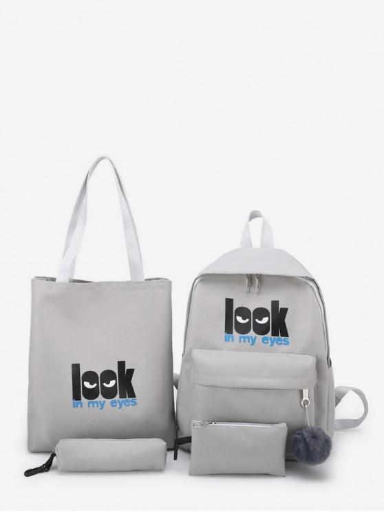 new 4 Piece Creative Look Canvas Backpack Set - GRAY