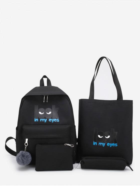 chic 4 Piece Creative Look Canvas Backpack Set - BLACK