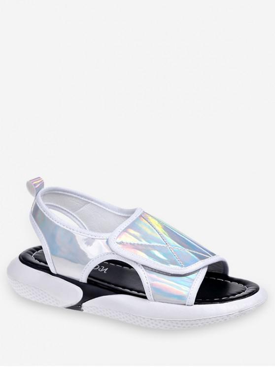 buy Holographic Hook Loop Sandals - SILVER EU 39