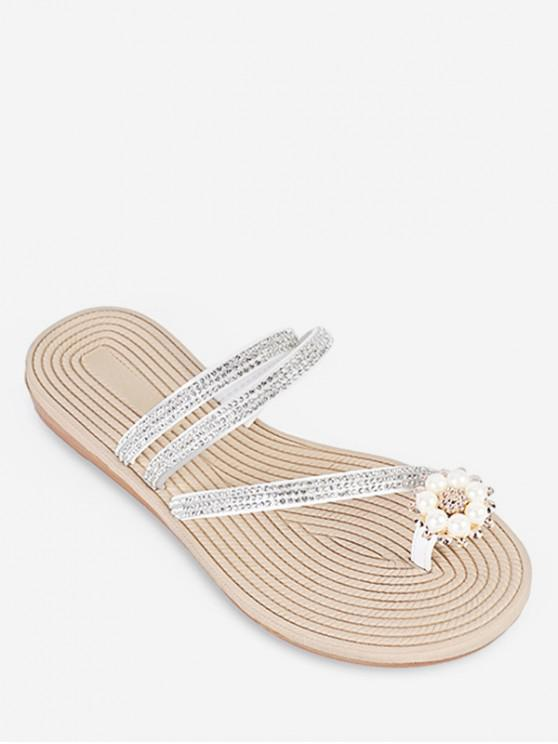 outfit Rhinestone Toe Loop Slides - WHITE EU 40