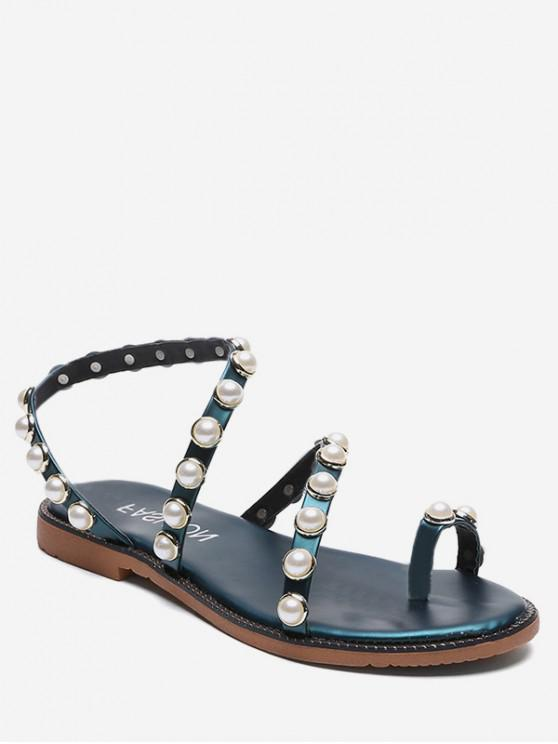 hot Beaded Strap Slip On Sandals - GREEN EU 35