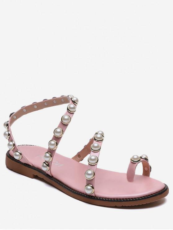 latest Beaded Strap Slip On Sandals - HOT PINK EU 36