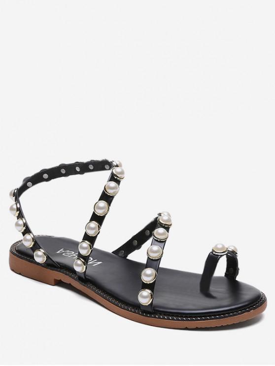 chic Beaded Strap Slip On Sandals - BLACK EU 40