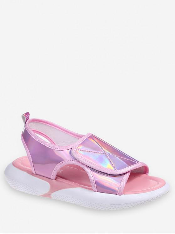 fancy Holographic Hook Loop Sandals - HOT PINK EU 39