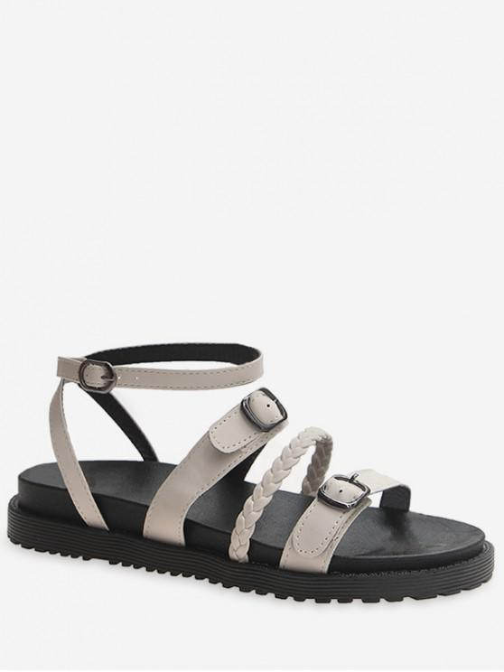 affordable Braided Buckle Strap Flat Sandals - BEIGE EU 35