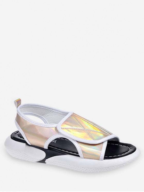 ladies Holographic Hook Loop Sandals - GOLD EU 39