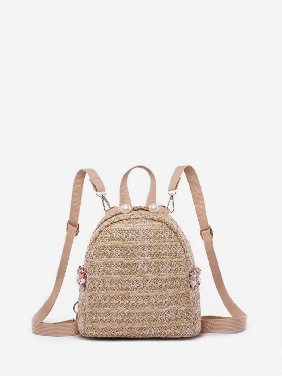 best Woven Straw Mini Backpack - KHAKI