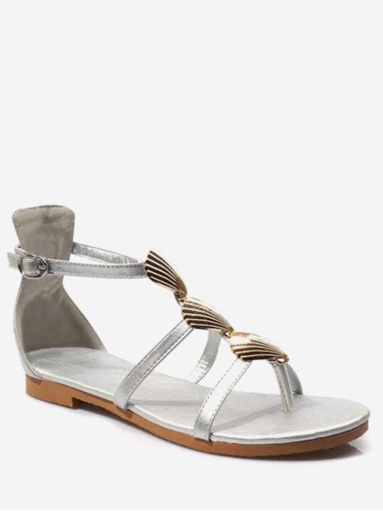 shop Shell Decor Thong Sandals - SILVER EU 40