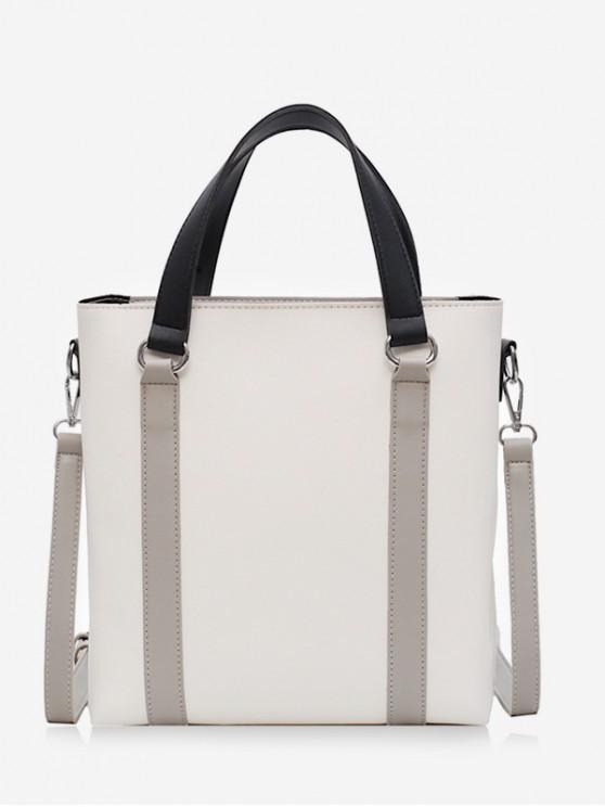 fashion Simple Contrast Color Handbag - WHITE