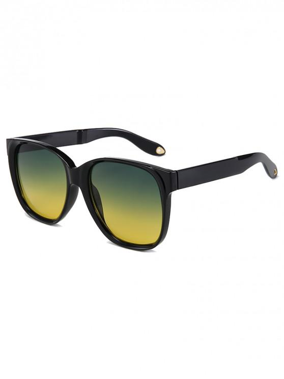 women Outdoor Anti UV Square Sunglasses - GREEN YELLOW REGULAR