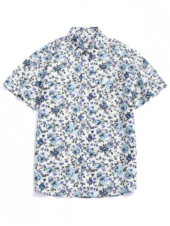 unique Flowers Allover Printed Button Up Shirt - MULTI-B L
