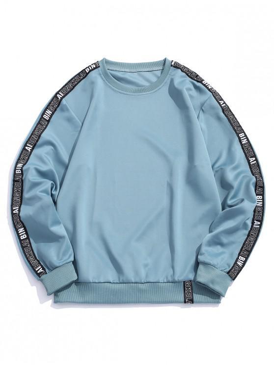 new Letter Print Ribbon Splicing Sweatshirt - BLUE KOI S