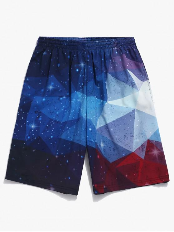 latest Galaxy Geometric Print Beach Shorts - BLUE IVY 4XL