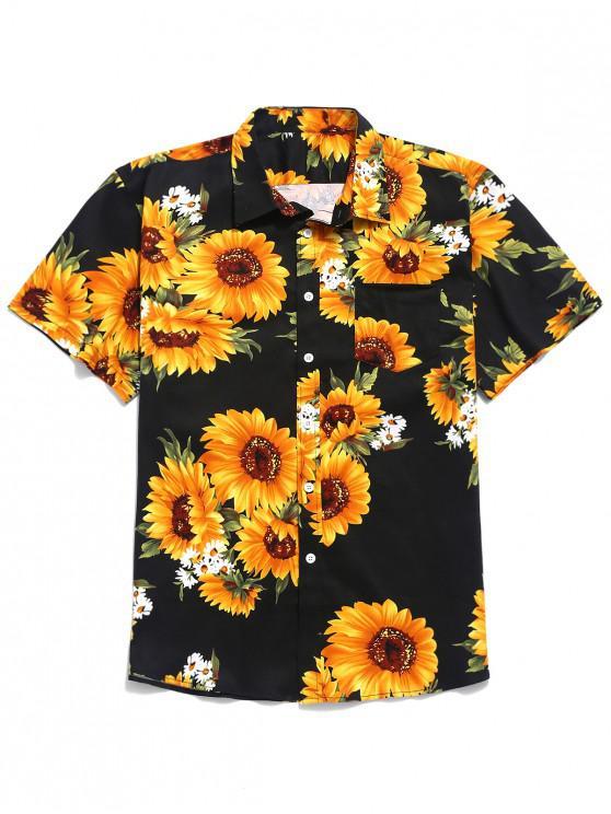 Kurzärmliges Hemd mit Sonnenblumenmuster - Schwarz 2XL