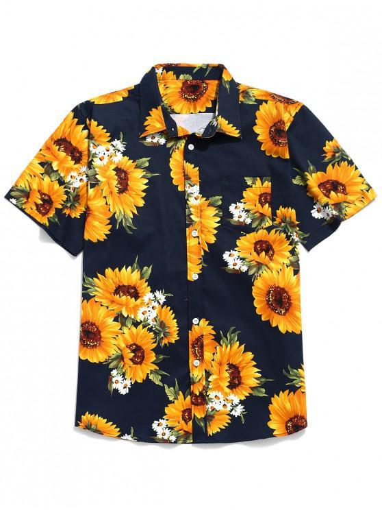 Kurzärmliges Hemd mit Sonnenblumenmuster - Mitternacht Blau M