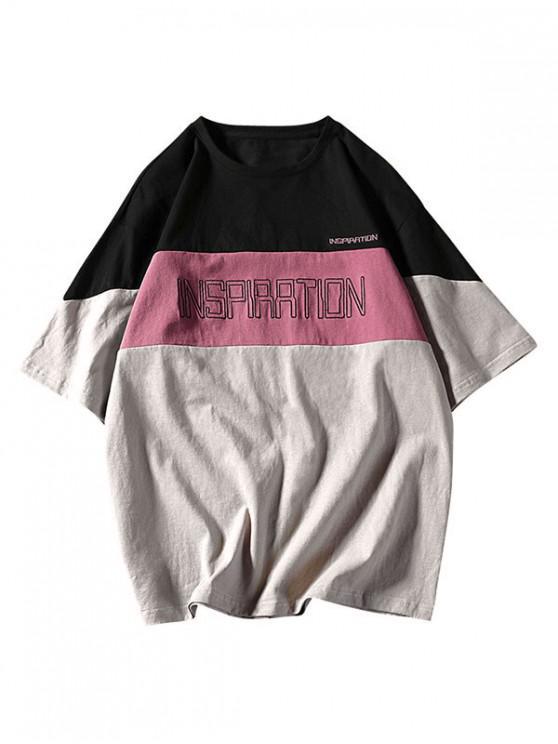 T-Shirt à Épaules Tombantes Design Panneaux et Applique Inscriptions - Noir M