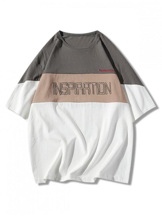 ladies Applique Letter Design Panel Drop Shoulder Tee - GRAY XL