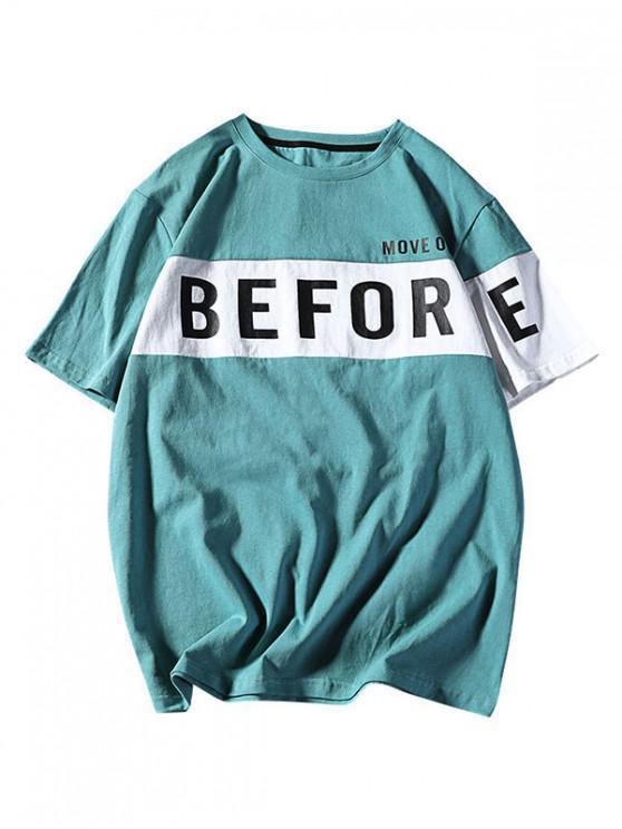 new Letter Print Drop Shoulder Panel T-shirt - MACAW BLUE GREEN L