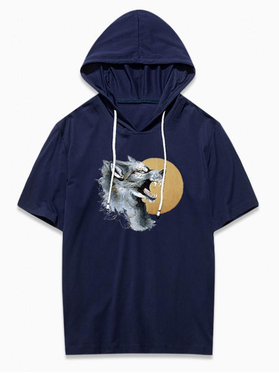 best Wolf Head Graphic Print Hooded T-shirt - CADETBLUE L