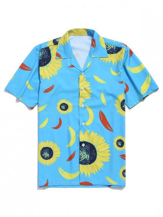 fashion Sunflower Painting Print Short Sleeves Shirt - MULTI 2XL