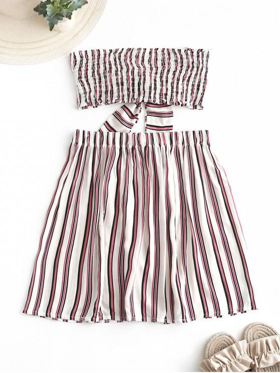 best Striped Smocked Tube Top and Skirt Set - MULTI-A XL