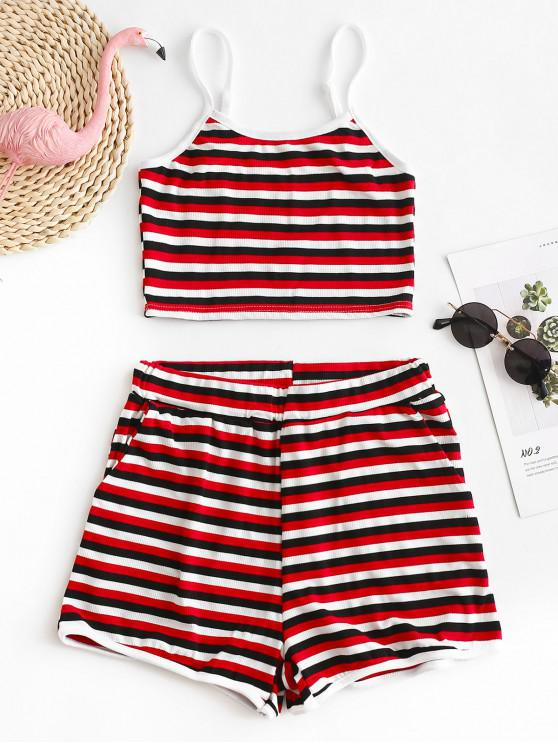 best Striped Knitted Cami Top and Shorts Set - MULTI-A S