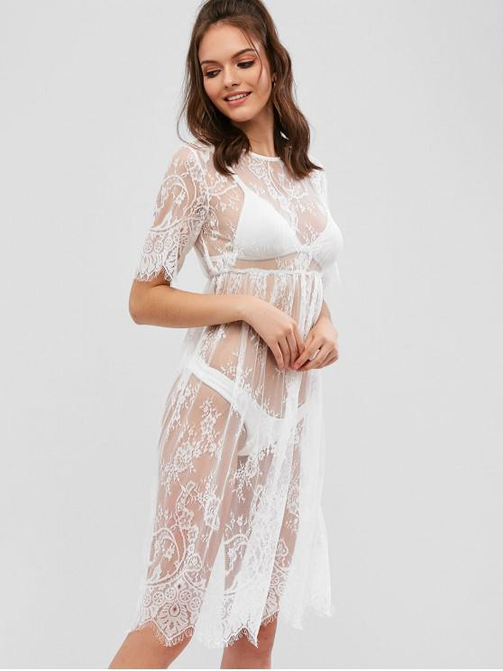 fancy Sheer Floral Lace Dress - WHITE L