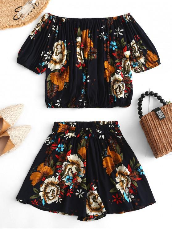 lady Off Shoulder Flower Print Two Piece Shorts Set - DEEP BLUE M