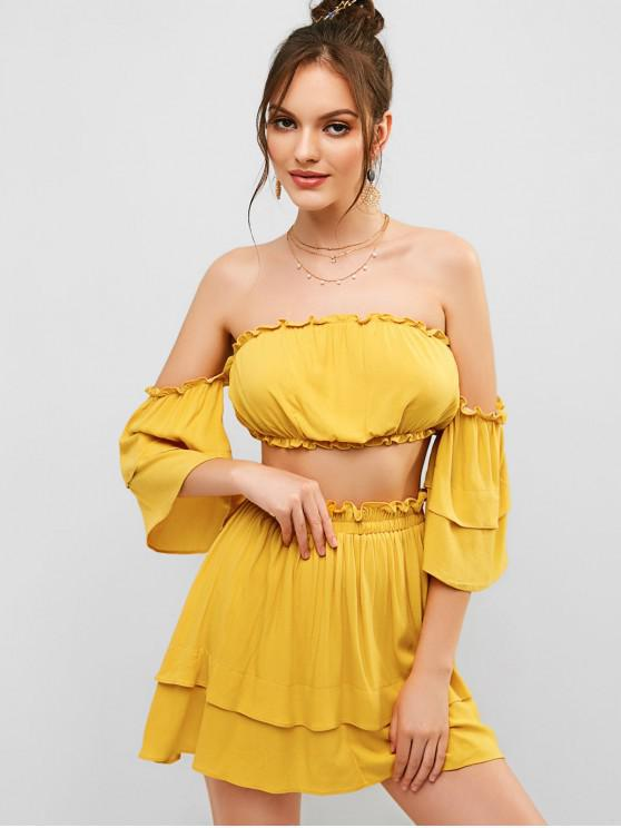 trendy ZAFUL Layered Off Shoulder Top And Skirt Set - BEE YELLOW S