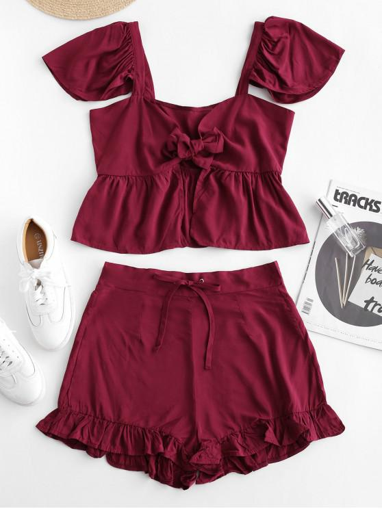 shop Tie Front Top And Ruffles Shorts Set - RED XL