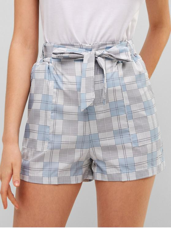 new Zipper Fly Plaid Belted Shorts - BLUE GRAY S