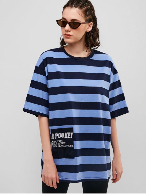 new Striped Oversized Boyfriend Tunic Tee - DODGER BLUE M