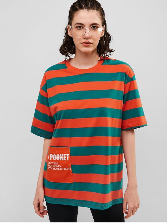 cc96a1c39 28% OFF] 2019 Striped Oversized Boyfriend Tunic Tee In PAPAYA ORANGE ...